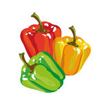 Cores doces de Paprika Bell Pepper In Three Imagens de Stock Royalty Free
