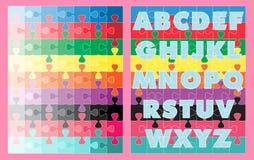 Cores dos alfabetos que aprendem enigmas de serra de vaivém para miúdos Fotos de Stock
