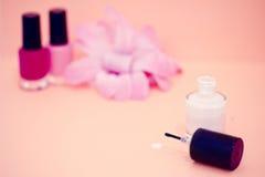 Cores e flor do lustrador de prego, cosméticos e termas Imagem de Stock Royalty Free