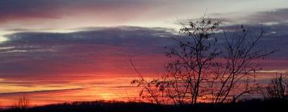 Cores e nuvens do céu na montanha do gora de Fruska Fotos de Stock Royalty Free