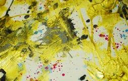 Cores escuras do ouro abstrato da cera da pintura, cursos da escova, fundo hipnótico orgânico imagem de stock