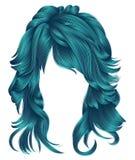 Cores longas do azul dos cabelos da mulher na moda Forma da beleza Realisti Imagem de Stock