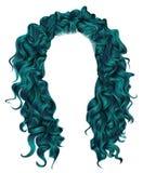 Cores longas do azul dos cabelos encaracolado peruca do estilo da forma da beleza Imagens de Stock
