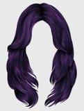 Cores longas do roxo dos cabelos da mulher na moda Forma da beleza Reali Fotografia de Stock Royalty Free
