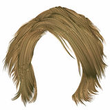 Cores louras dos cabelos bagunçados na moda da mulher Forma da beleza Foto de Stock