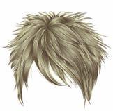 Cores louras na moda dos cabelos curtos da mulher franja beaut da forma Imagem de Stock