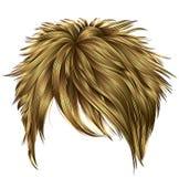 Cores louras na moda dos cabelos curtos da mulher franja Estilo da beleza da forma Imagem de Stock Royalty Free