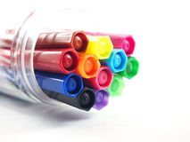 Cores mágicas, tinta multicolorido das penas Foto de Stock Royalty Free