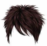 Cores marrons na moda dos cabelos curtos da mulher franja beleza s da forma Foto de Stock Royalty Free