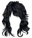 Cores morenos do marrom escuro dos cabelos longos na moda da mulher Forma da beleza 3d realístico Imagens de Stock