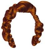 Cores na moda do gengibre vermelho dos cabelos da mulher Forma da beleza st retro Imagem de Stock