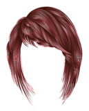 Cores na moda do rosa do cobre da mulher kare dos cabelos com beaut da franja Foto de Stock Royalty Free