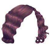 Cores na moda do rosa do cobre do kare dos cabelos da mulher ondas retros do estilo da forma da beleza 3d realístico Fotos de Stock