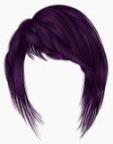 Cores na moda do roxo da mulher kare dos cabelos com franja beau Fotografia de Stock Royalty Free