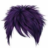 Cores na moda do roxo dos cabelos curtos da mulher franja Estilo da beleza da forma Foto de Stock Royalty Free