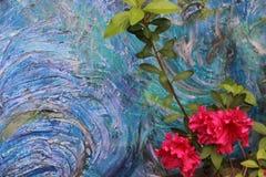 Cores oceânicos da pintura acrílica abstrata com minha Azalea In The Foreground imagens de stock