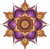 Cores orientais da mandala, do roxo, as alaranjadas e as bege Fotografia de Stock Royalty Free
