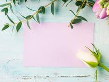 Cores pastel cor-de-rosa da tulipa roxa vazia da flor do cartão Foto de Stock