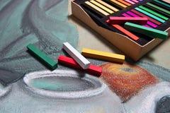 Cores pastel de Artist's e pastel original da vida imóvel Fotos de Stock Royalty Free