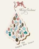 Cores pastel de cartão de Natal do vintage. Ilustração Royalty Free
