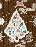 Cores pastel de cartão de Natal do vintage. Ilustração Stock