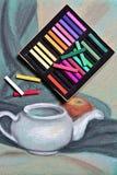 Cores pastel dos artistas e pastel original da vida imóvel Fotografia de Stock Royalty Free