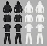 Cores preto e branco da roupa das silhuetas ilustração stock