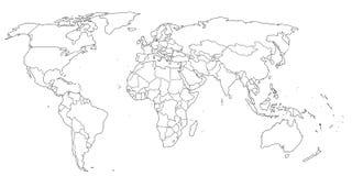 Cores preto e branco do mapa do mundo do contorno ilustração stock