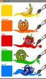 Cores principais com frutos dos desenhos animados Imagens de Stock Royalty Free