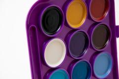 Cores profundas da paleta da aguarela Fotografia de Stock