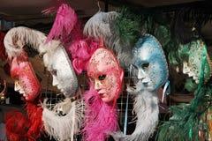 Cores Venetian das máscaras cor-de-rosa, do cinza, as azuis e as verdes Imagem de Stock Royalty Free
