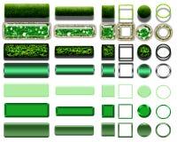 Cores verdes diferentes dos botões e dos ícones para o webdesign Foto de Stock Royalty Free