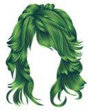 Cores verdes dos cabelos longos na moda da mulher Forma da beleza Realisti Fotos de Stock Royalty Free