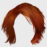 Cores vermelhas dos cabelos bagunçados na moda da mulher Forma da beleza Imagens de Stock