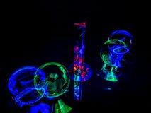 Cores vermelhas, verdes, e azuis no Lensballs e no prisma fotos de stock
