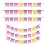 Cores violetas, amarelas e cor-de-rosa pasteis ajustadas Bunting Pode ser usado para o álbum de recortes, os cartões, a festa do  Imagens de Stock