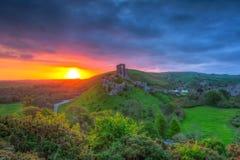 Corfe城堡的废墟 图库摄影