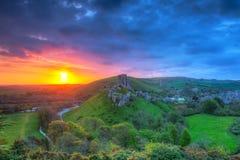 Corfe城堡的废墟 免版税图库摄影