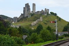 Corfe城堡 免版税库存照片