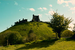 Corfe Ancient Castle Ruins on a hill Royalty Free Stock Images