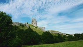 Corfe Castleis een vestingwerk, Dorset het UK Stock Afbeelding