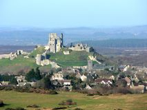 Corfe Castle. And village in Winter royalty free stock photography