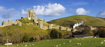 Corfe Castle. The ancient ruins of Corfe Castle near Swanage on the Isle of Purbeck in Dorset Royalty Free Stock Photography