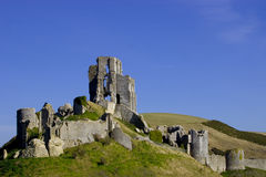Corfe Castle. View of the historic Corfe Castle on the Isle of Purbeck in England Stock Image