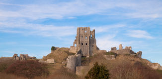 Corfe Castle. Defended by Lady Bankes for the Royalists during the English civil war and laid waste by the Round Heads when they finally overcame resistance Royalty Free Stock Photos