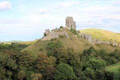 Corfe Castle. In dorset stock photo