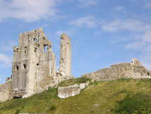 Corfe Castle, Dorset. A view of Corfe Castle, Dorset from the ascend to the fortification Royalty Free Stock Images