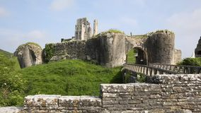 Corfe Castle Dorset England ruins of English fortification. Corfe Castle Isle of Purbeck Dorset England built by William the Conqueror in 11th century in the stock video