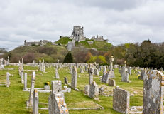 Corfe Castle & Graveyard, Dorset Stock Photography
