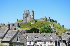 Corfe castle and Greyhound Pub. Royalty Free Stock Image